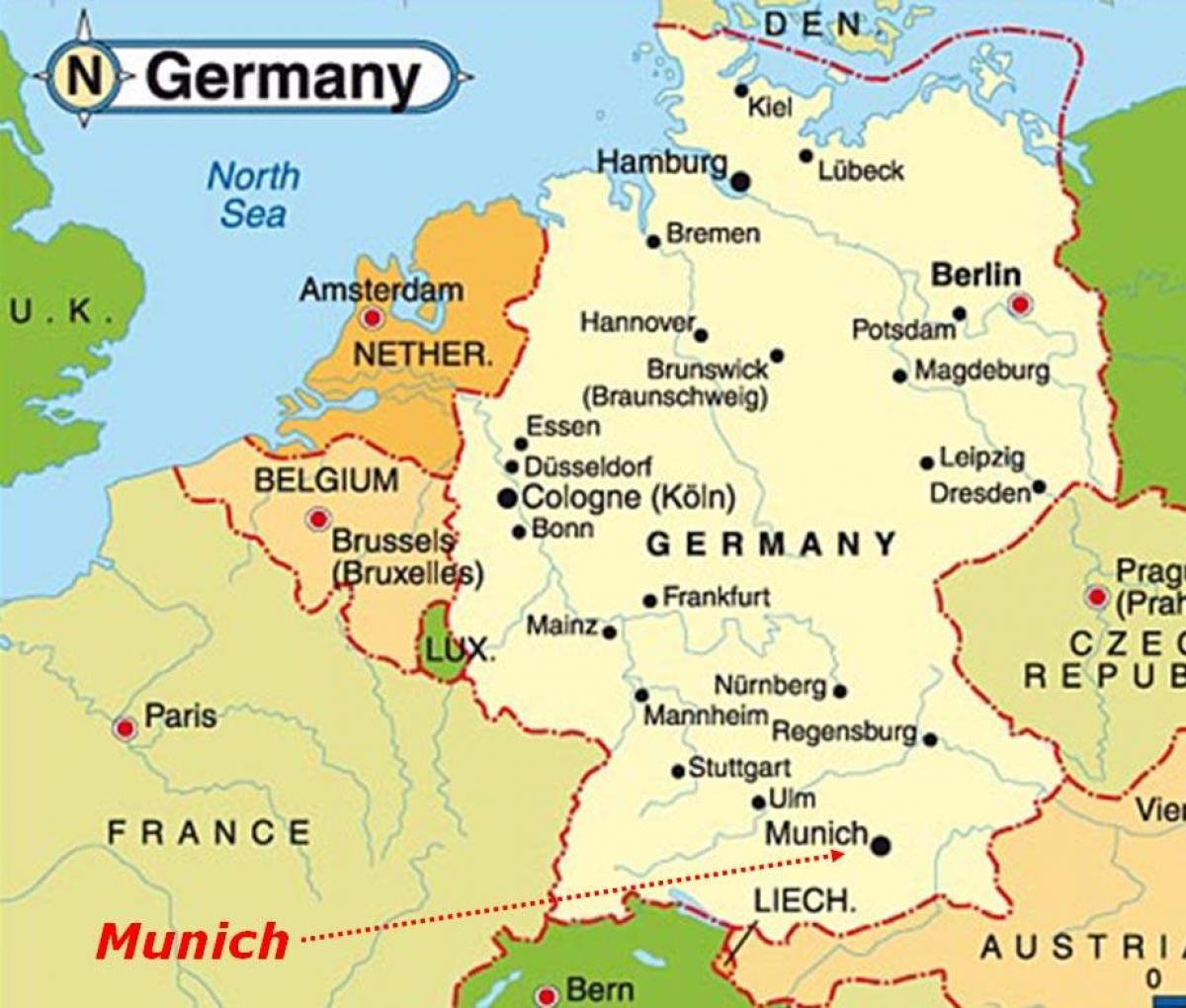 Myunhen Karta Evropy Karta Myunhena Evrope Bavariya Germaniya